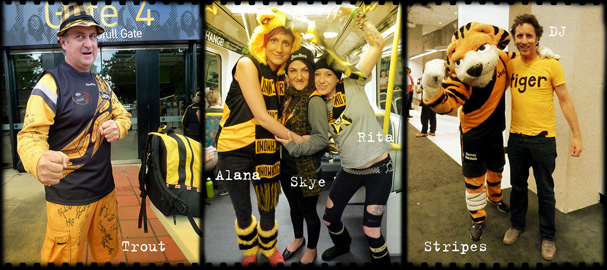 Left: Fighting Tiger – Trout in his natural habitat, spawning back to the MCG for the first time this season. Center: Stopping all stations – Alana, Skye and Rita make the trip to the G from Frankston. Right – Two Tigers: half-time entertainment in one of the 3121 coterie club's bars (tickets courtesy of the Capital Tigers!)