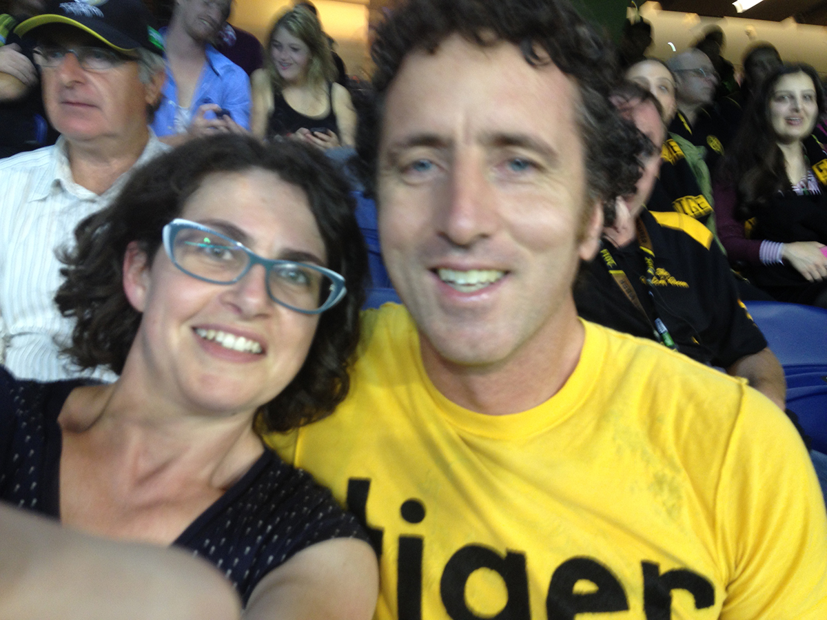 Together at last at the footy: Mr and Mrs Tiger