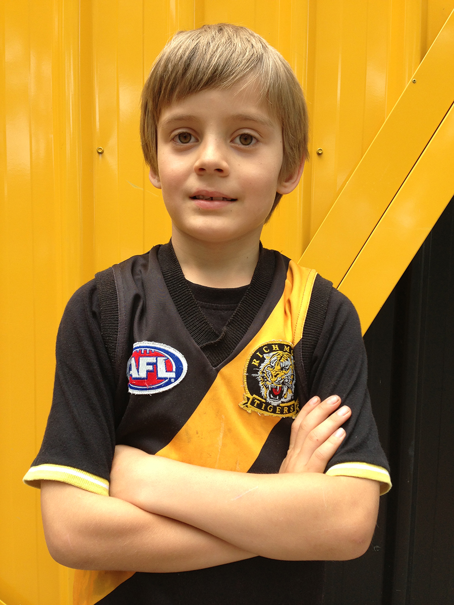 Elijah the little Tiger: our future centre-half-forward, photographed outside Punt Road Oval