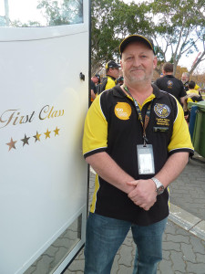 Five-star companionship: Greg Watt (yes, he knows its a good name for an electrician), on arrival at Homebush.