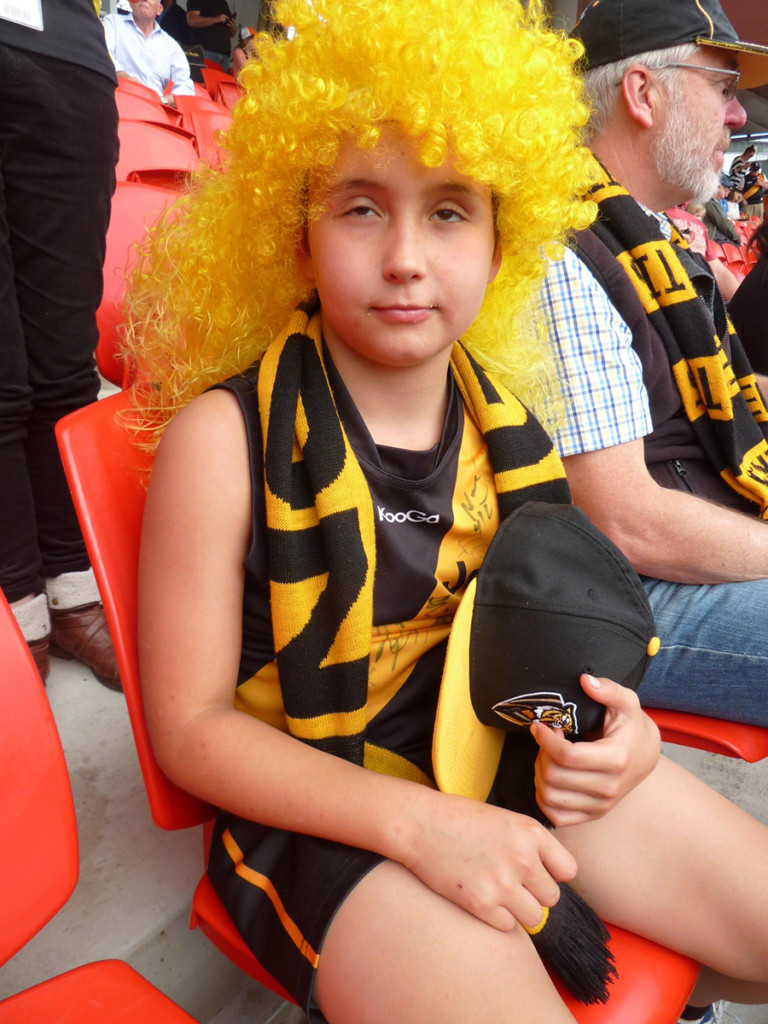 Has Trout spawned a love-child with the Mullet? No, it's Sydneysider Hugo McKay, 8, at the game.