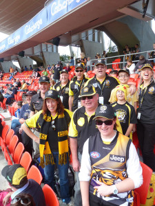 Smiles in the crowd: a section of the Capital Tigers at the GWS game.
