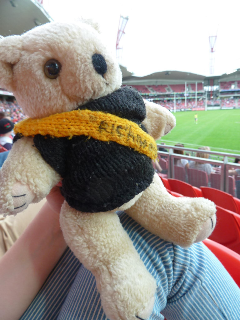 Grin and bear it: 'Richo's' first visit to Spotless Stadium, on the knee of Hanora