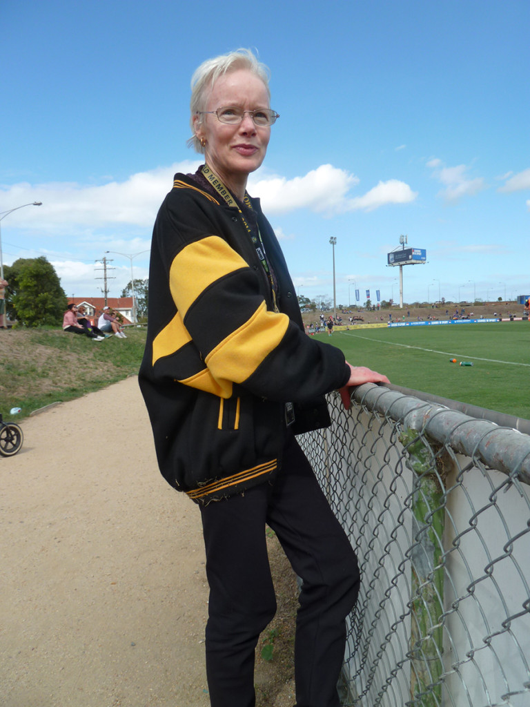 Imogen Bowman, by the boundary at Western Oval watching Richmond's VFL team