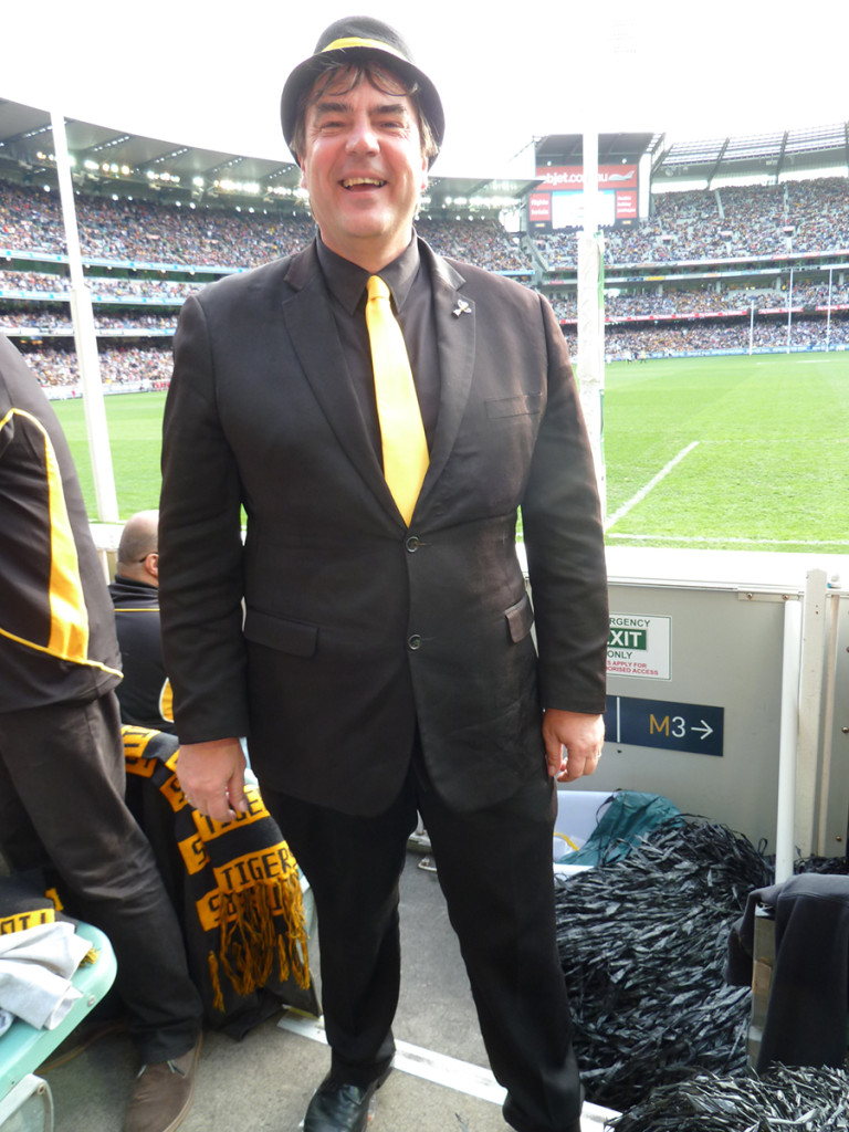 David, a cheer squad cheer leader, and occasional pastry chef, and seller of watches, and all-round good guy, in his sartorial splendour at last year's Elimination Final.