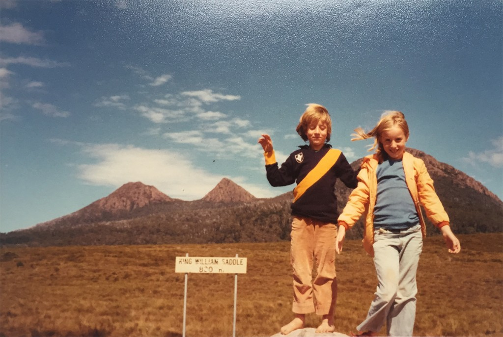 Tasmania, 1978: Tiger Tiger Burning Bright as a barefooted 7-year-old boy at King William Saddle on the Tasmanian central plateau on a camping family holiday (pictured here with older sister No. 2, Clara, who still shows no interest in football).