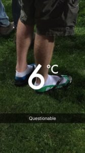 A balmy six degrees and as seen at game last year (& this man last seen dispensed from casualty with frostbite). Pic supplied by Luke Wentworth.
