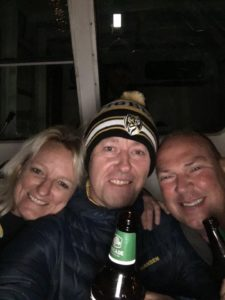 "Beers to tears: Justin Flynn and his merry crew ""on the ferry over to Bellerive, before the carnage, with a wind chill of minus 4""."